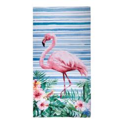 Toalha de Praia Santista Flamingo Veludo 100% Algodão 70x150cm SAPRAEBAB1FLAMIN