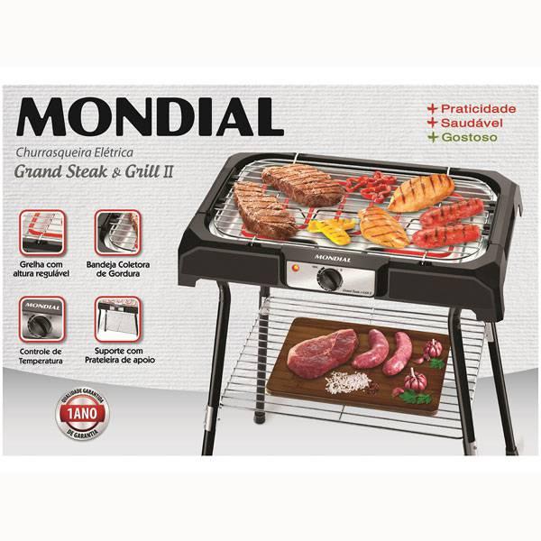 Churrasqueira Elétrica Mondial Grand Steak & Grill II 2000W Preto 110V      ...