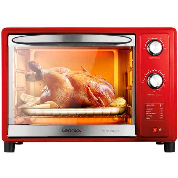 Forno Elétrico Lenoxx Red Gourmet com Timer 1600W Vermelho 36L 220V PFO309