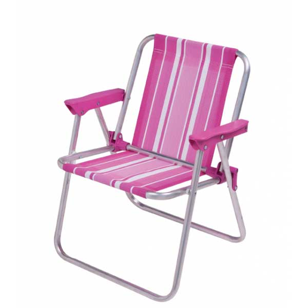 Cadeira de Praia Mor Infantil Alta em Aluminio Rosa 002122