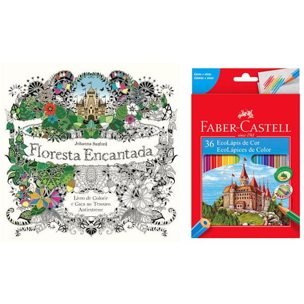 Kit: Lápis de Cor Ecolapis 36 Cores - Faber Castell + Livro de Colorir A...
