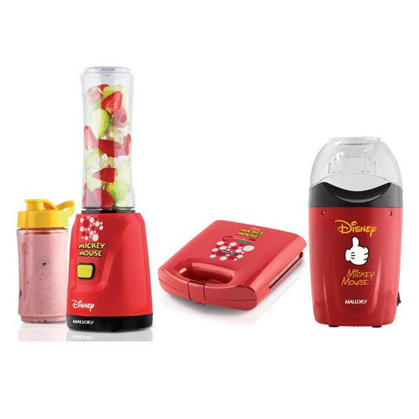 Kit Mickey Mallory Liquidificador + Pipoqueira + Sanduicheira Vermelho 110V