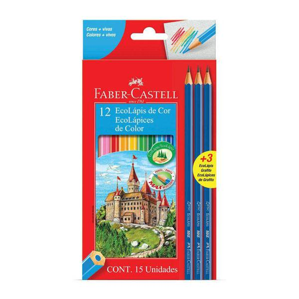 Lápis de Cor Longo 12 Cores + 3 Eco Lápis - Faber Castell 120112+3GR