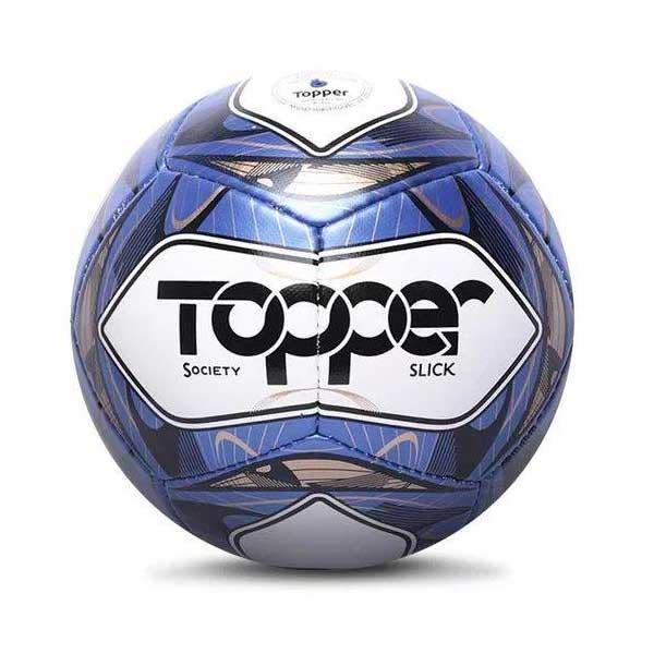Bola de Futebol Topper Slick Society Branco/Azul/Preto 1884