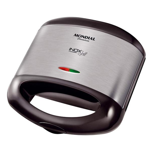 Sanduicheira Mondial Grill Premium 800W Inox/Preto 220V       S-07