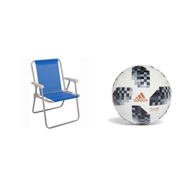 Resgate: Cadeira de Praia Alta Aluminio Sannet Mor + Ganhe: Minibola Adidas...