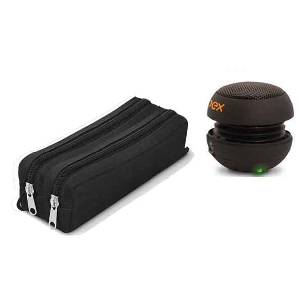 Mini Caixa de Som Speaker 360º Entrada P2 3W Oex + Estojo Jomo Pé na Estrada...