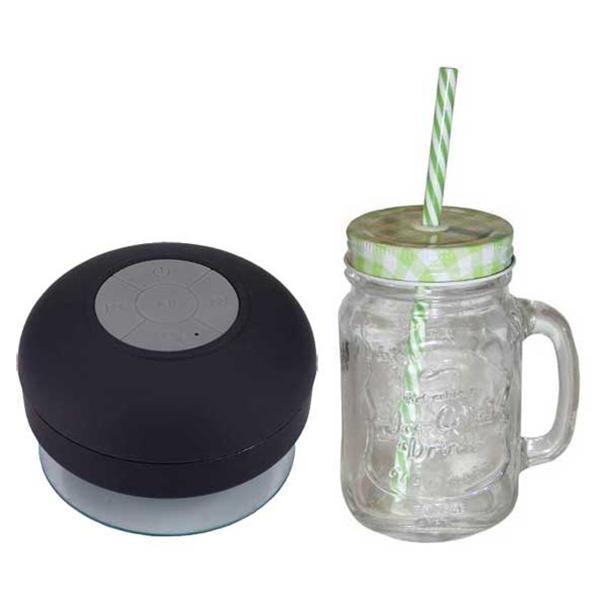Copo Ice Cold Drink com Canudo e Tampa Verde 500ml Toyland + Caixa de Som...
