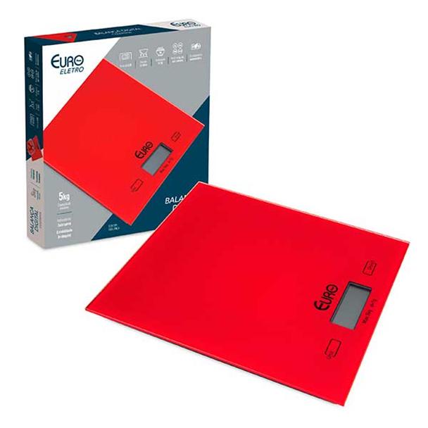 Balança Digital Euro para Cozinha em Vidro Vermelha 5Kg BAL7856