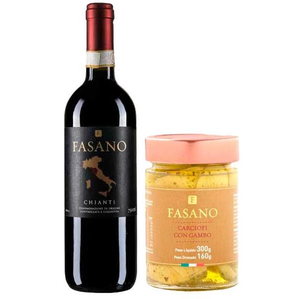 Vinho Chianti Fasano DOCG 750ml - Fasano + Alcachofra com Talo em Azeite 300g -...