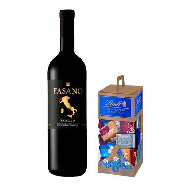 Vinho Barolo Fasano DOCG 750ml - Fasano + Chocolates Premium Napolitains 350g -...