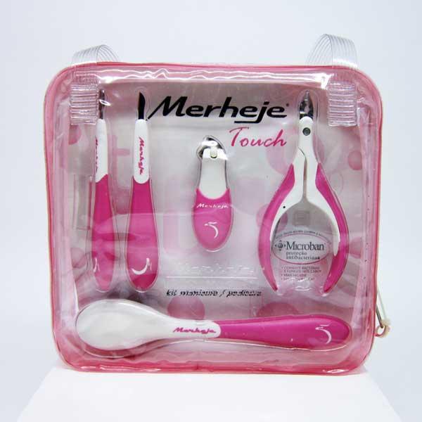 Kit Manicure/Pedicure Merheje Touch 5 Peças Branco/Rosa 7896075706410