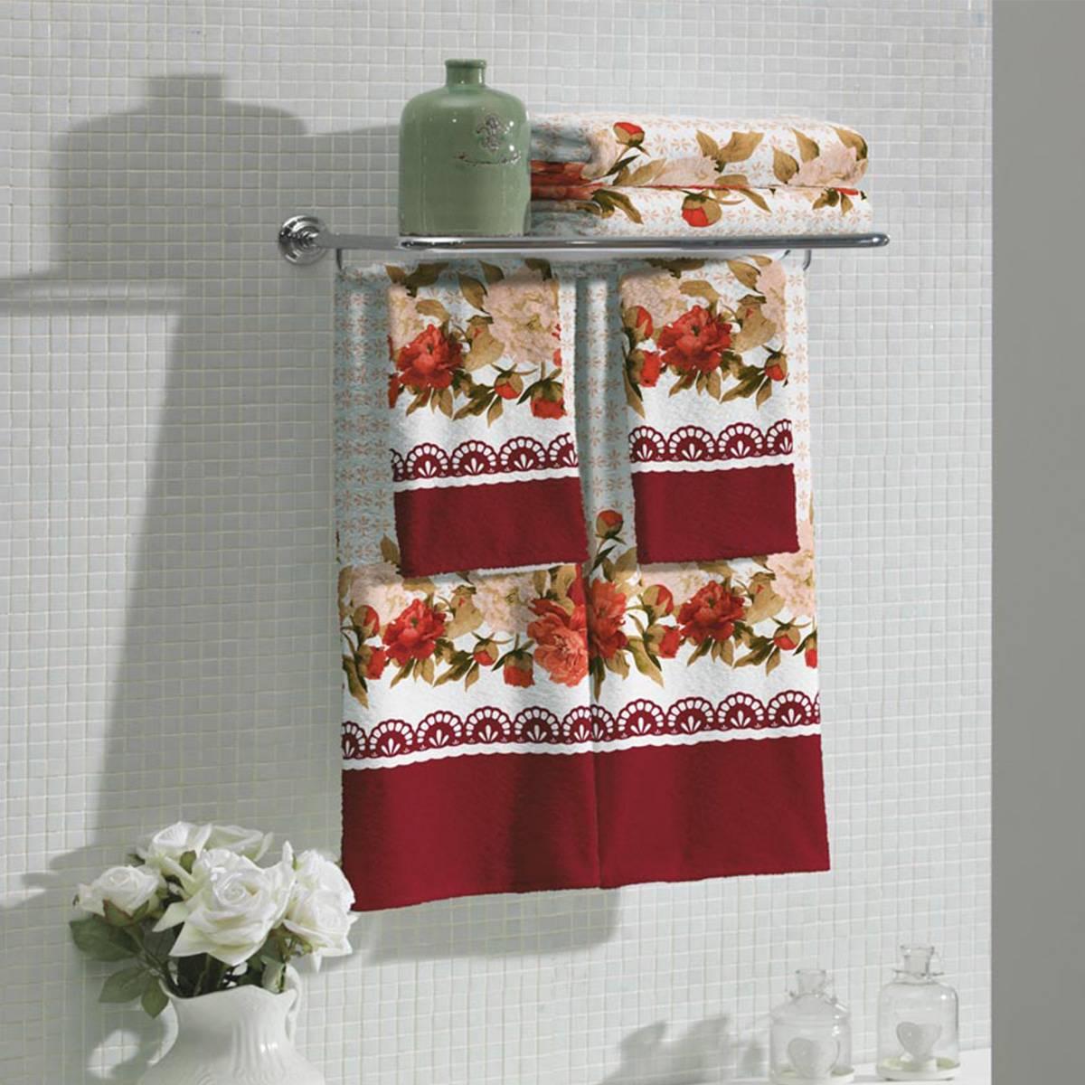 Jogo de Banho Lepper Flora 4 Peças Padrão 2 Vermelho 042330