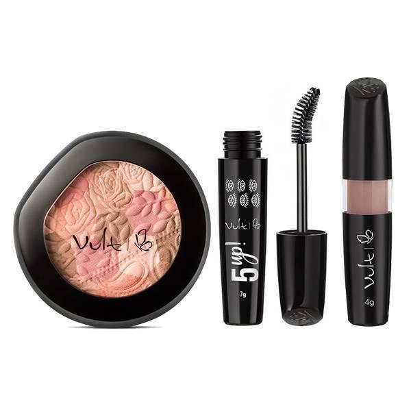 Batom Líquido Matte 4g Cor 01 - Vult + Mosaico Blush + Máscara Para Cílios Vult