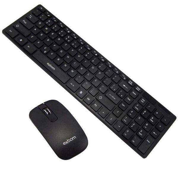 Kit Teclado e Mouse sem Fio Preto Exbom BK-S1000