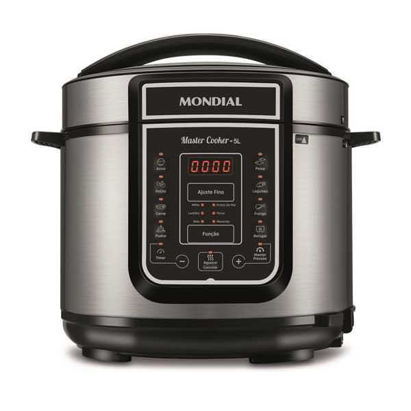 Panela de Pressão Elétrica Mondial Digital Master Cooker 900W Prata/Preto 5L...