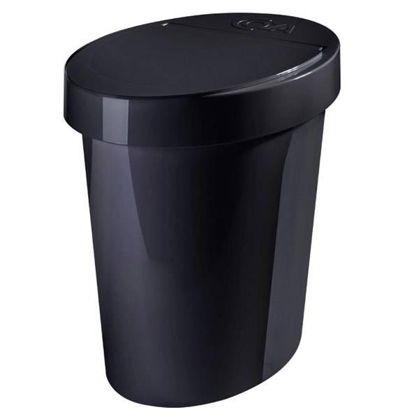 Lixeira Oval Coza Glass Preta 5L 20931/0008