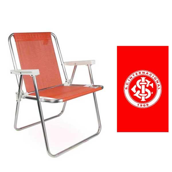 Cadeira de Praia Alta Alumínio Coral - Mor + Toalha Social Bouton Internacional...