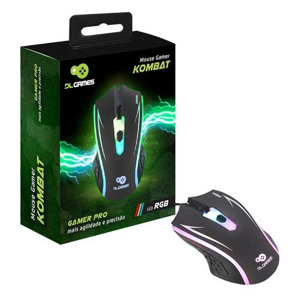 Mouse DL Games Kombat 1200Dpi 4 Botões LED Colorido Preto MX250PRE