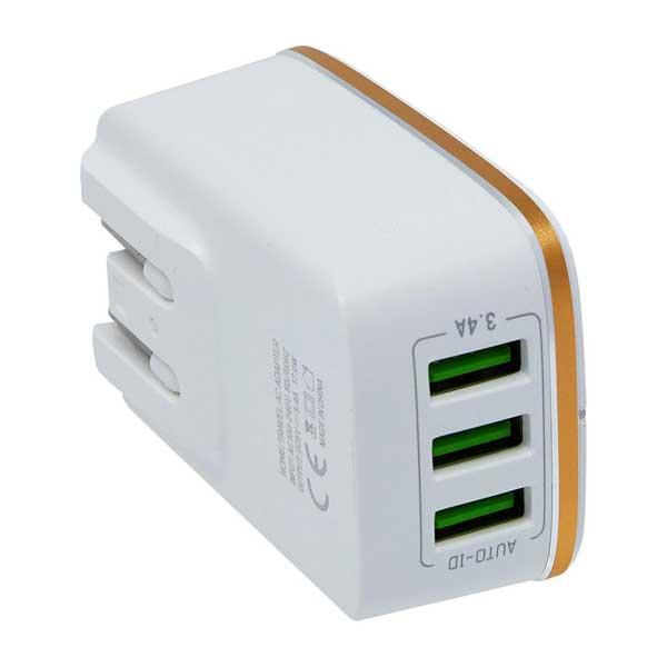 Carregador de Parede X-Trax Padrão Universal 3 USB Branco/Dourado 801116