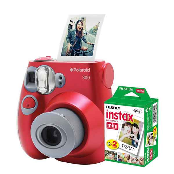 Kit de Câmera Polaroid Instantânea + Filme 10 Poses Vermelha PIC300_KIT3