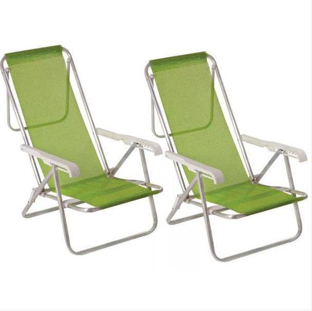 Cadeiras de Praia Mor 8 Posições Alumínio Sannet - 2 Unidades - Verde 002271