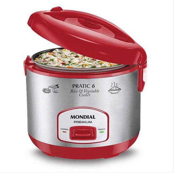 Panela Elétrica de Arroz Mondial Pratic Rice 6 Premium 400W Vermelho/Prata 110V...