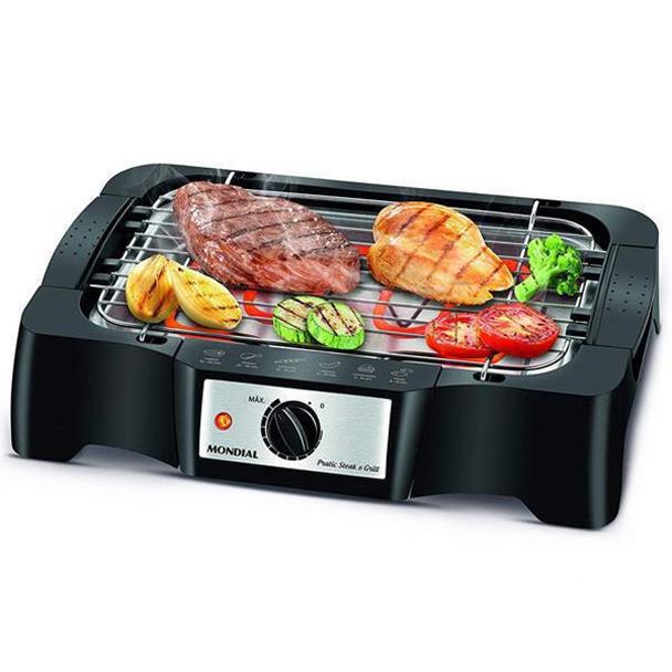 Churrasqueira Elétrica Mondial Pratic Steak & Grill 1200W Preta 220V CH-07
