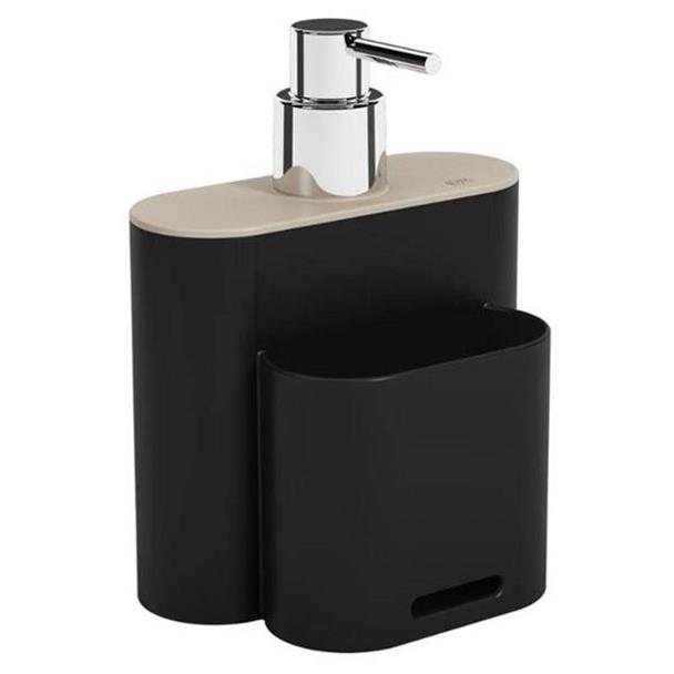 Dispenser Coza Flat Preto e Cinza Claro 500ml 17002/3333